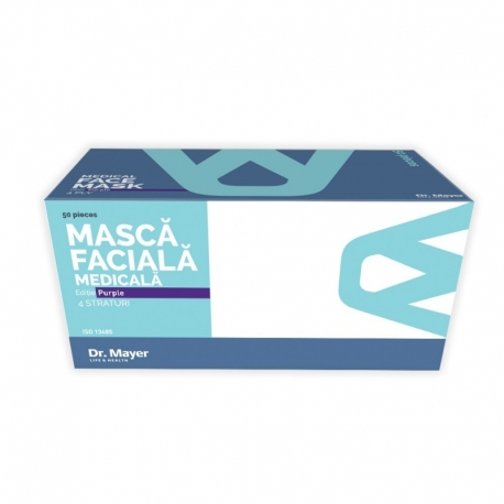 Masca medicala mov Dr. Mayer 4 straturi full color 50 buc