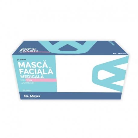 Masca medicala roz Dr. Mayer 4 straturi full color 50 buc