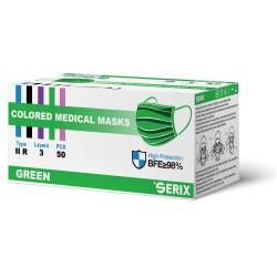 Masca Medicala Tip IIR Verde 3 Pliuri SERIX 50 Buc